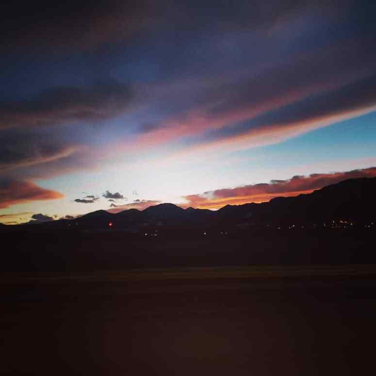 dusk, mountains, sun, sky