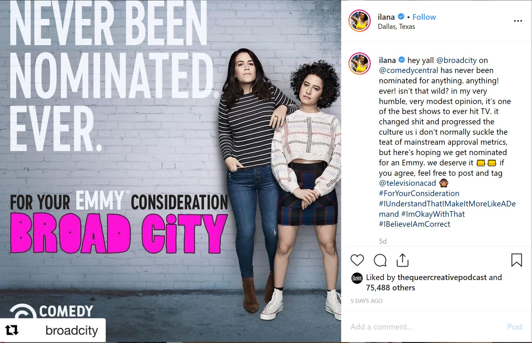 ilana glazer never been nominated Broad City instagram post