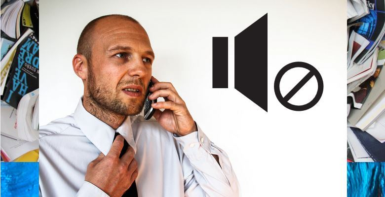 man talking on phone, chaos background, muted sound