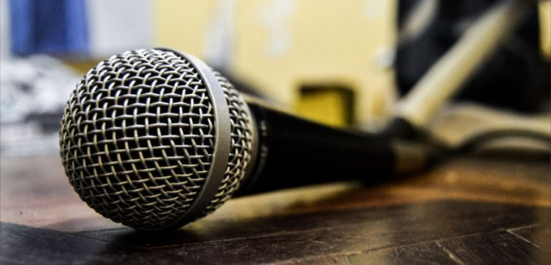 image of a microphone on the ground