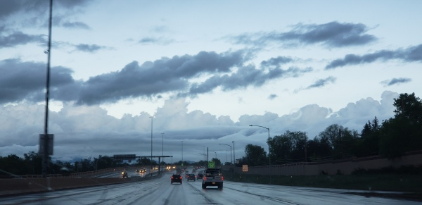 photo of highway on rainy day