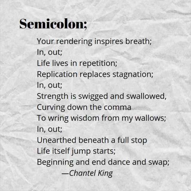 poem about the semicolon in relation to mental health and pushing forward