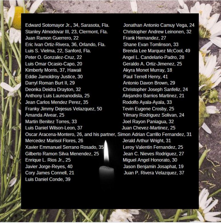 Say Their Names, Pulse Night Club Shooting, Orlando, Florida, candle floral background