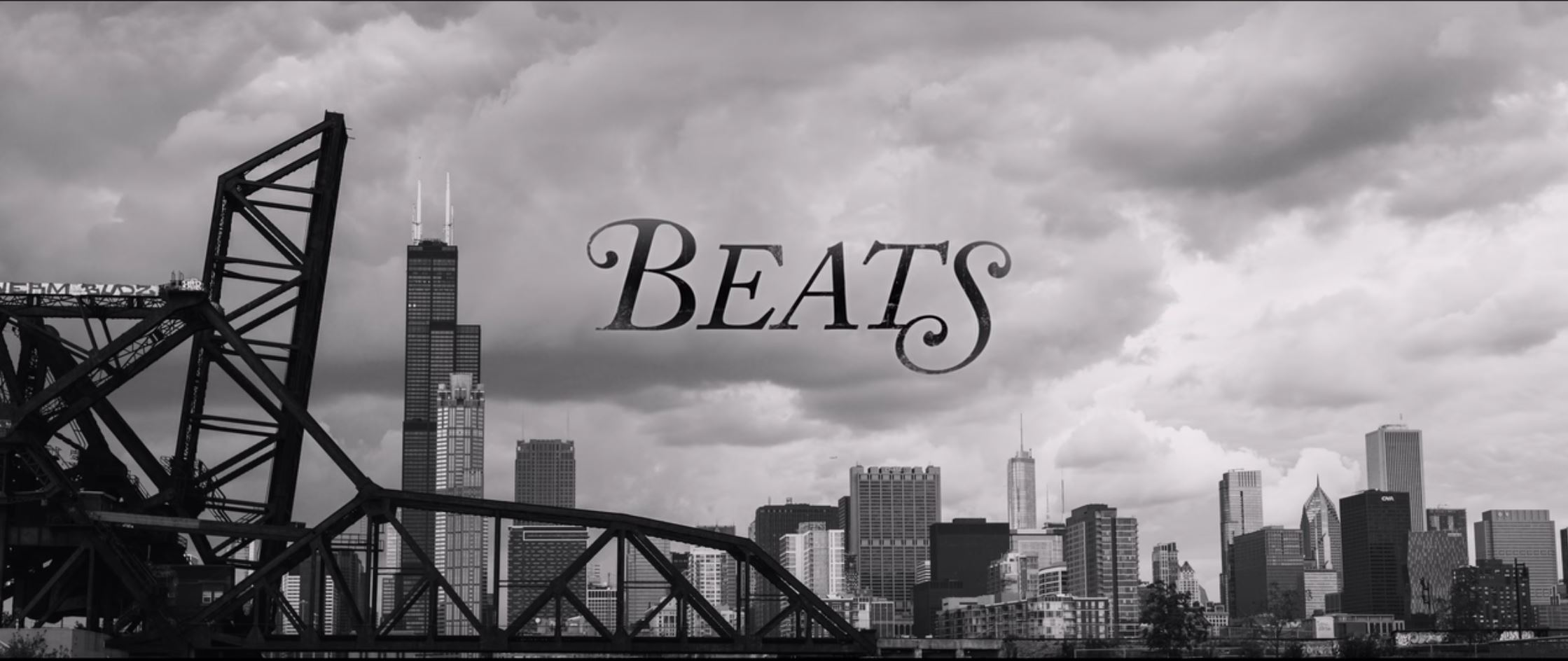 image of Netflix film title 'Beats' across Chicago skyline