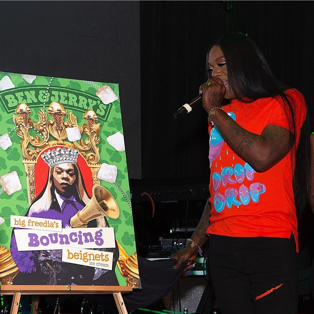 photo of big freedia beside poster of new ice cream