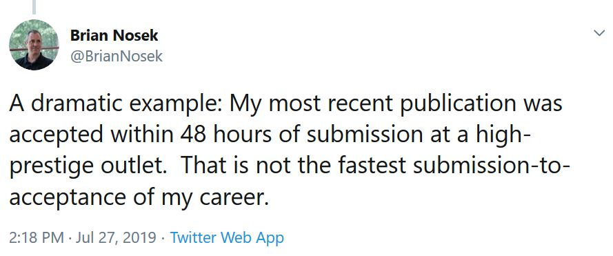 brian nosek tweet about quick submission/acceptance rates