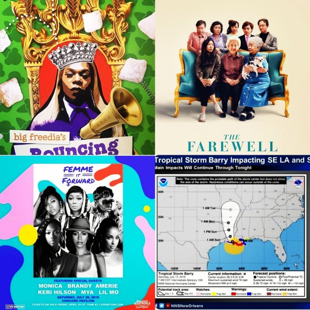 image of Big Freedia, The Farewell movie poster, a Femme it Forward tour poster, and TS Barry