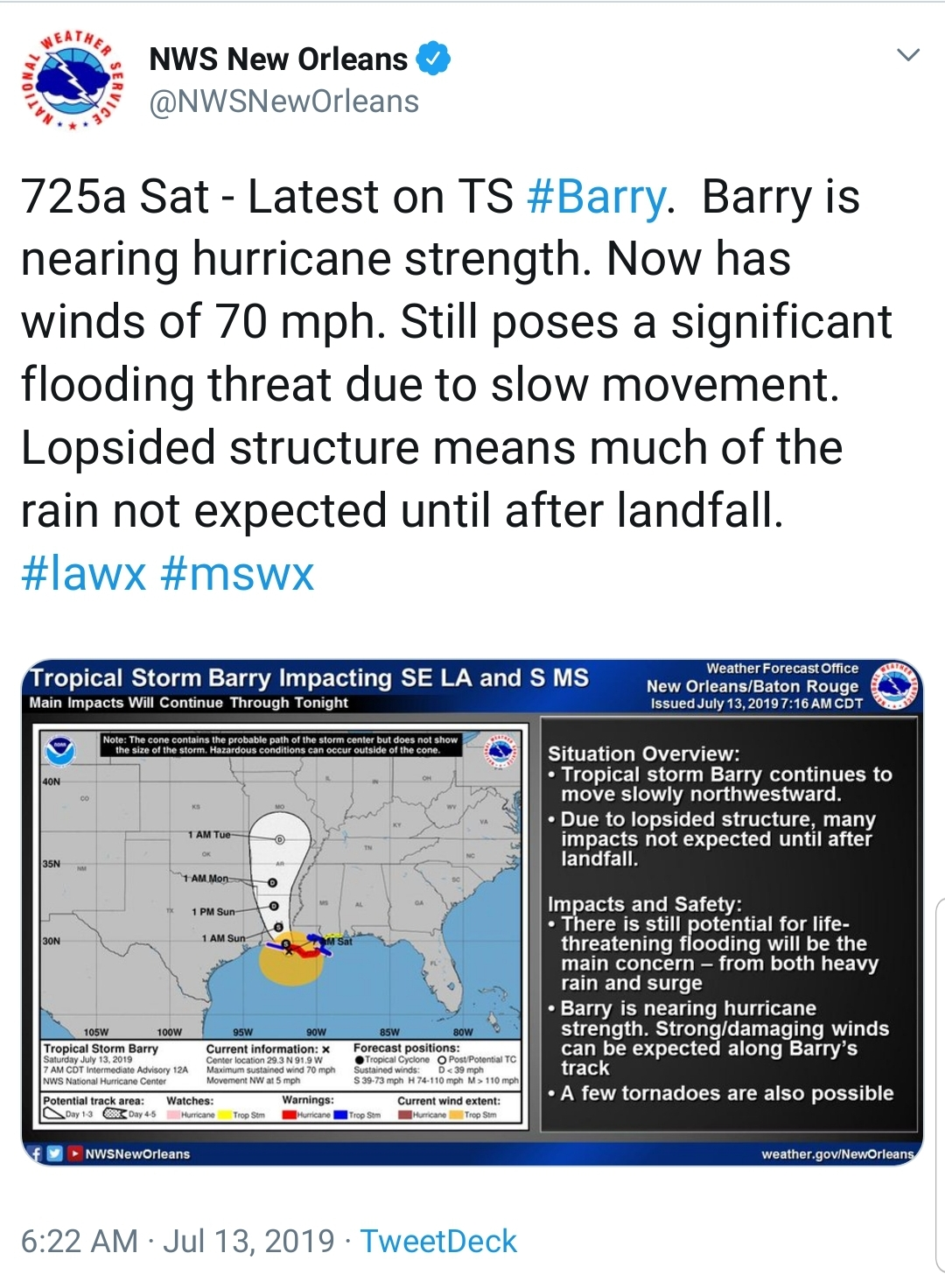 new orleans hurricane barry update