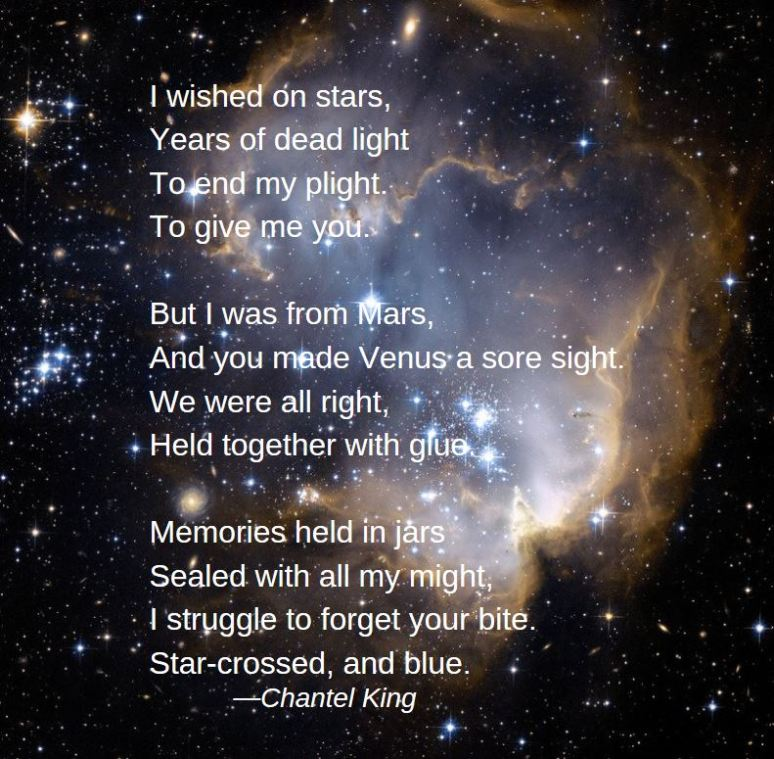 poem by Chantel King, text about wishing on stars set to space