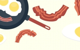 clip art image of bacon and eggs in a pan