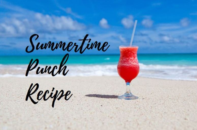 graphic of a beverage in a glass on the sand, phrase 'summertime punch recipe' to the left of drink