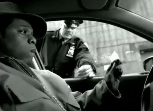 still of 99 Problems song, JAY Z pulled over by officer