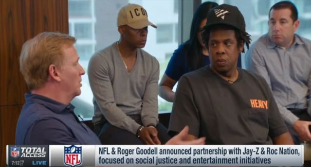 left: roger goodell, right: jay z, during press conference