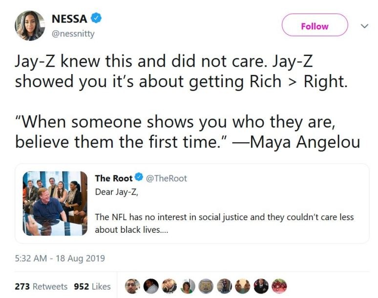 tweet by Nessa Diab about JAY Z and the NFL deal