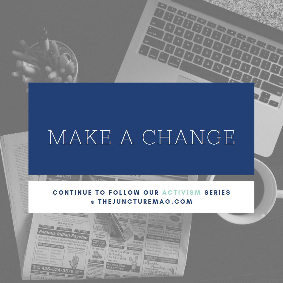 "image of computer, newspaper, & message of, ""Make a Change"" and follow The Juncture Mag"