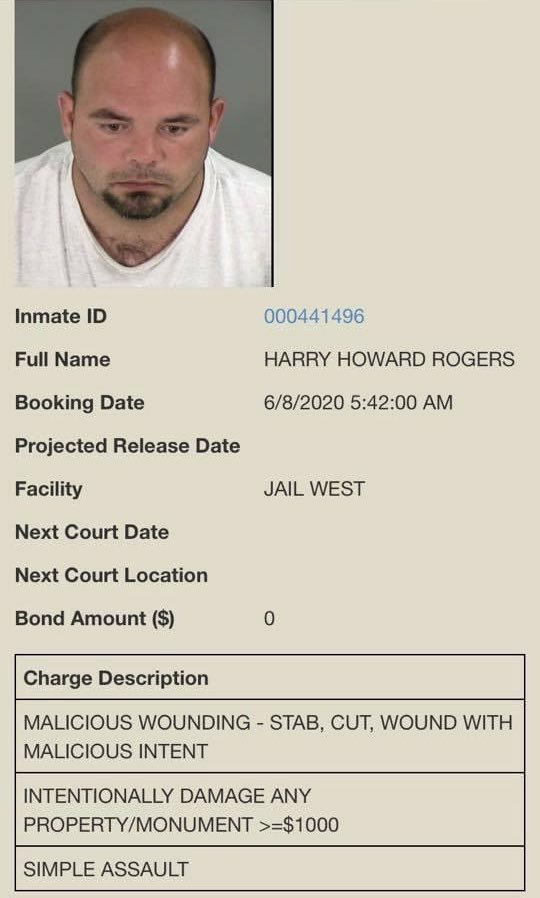 Image of Harry Rogers and his arrest charges
