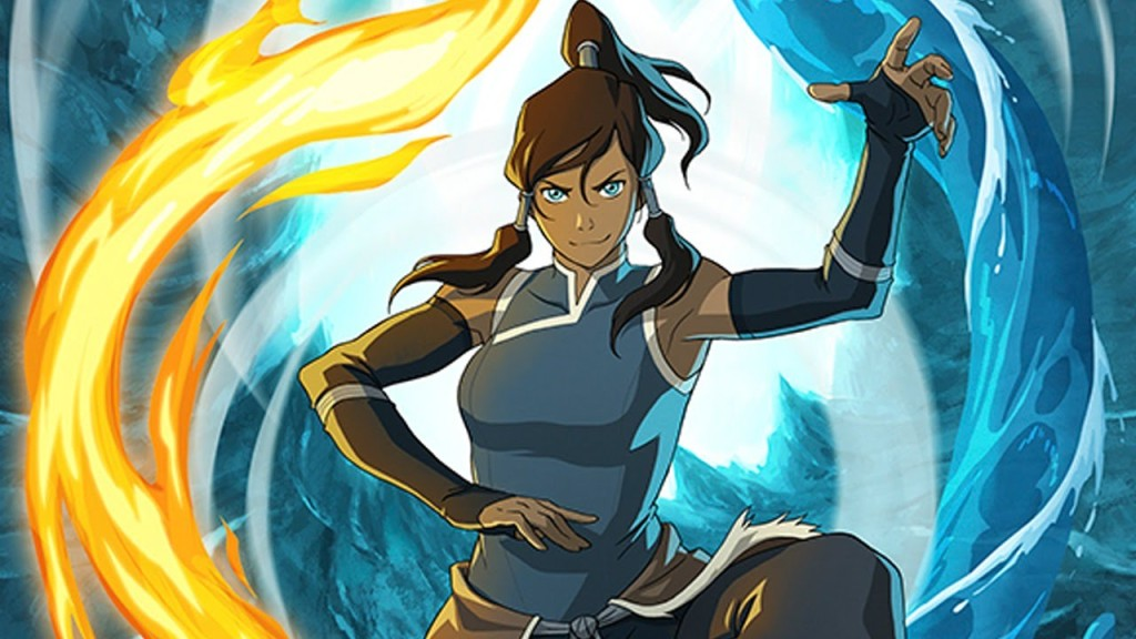 Image of avatar Korra bending fire and water