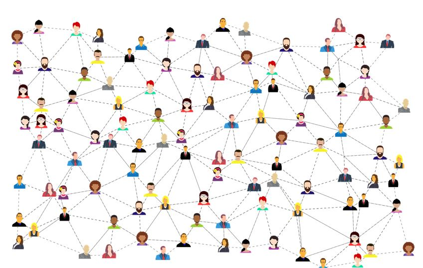 image of multiple computer generated avatars of people connected by dashes to symbolize networking